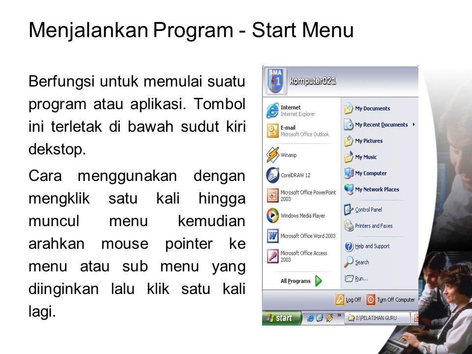 Menjalankan Program - Start Menu Berfungsi untuk memulai suatu program atau aplikasi. Tombol ini terletak di bawah sudut kiri dekstop. Cara menggunaka