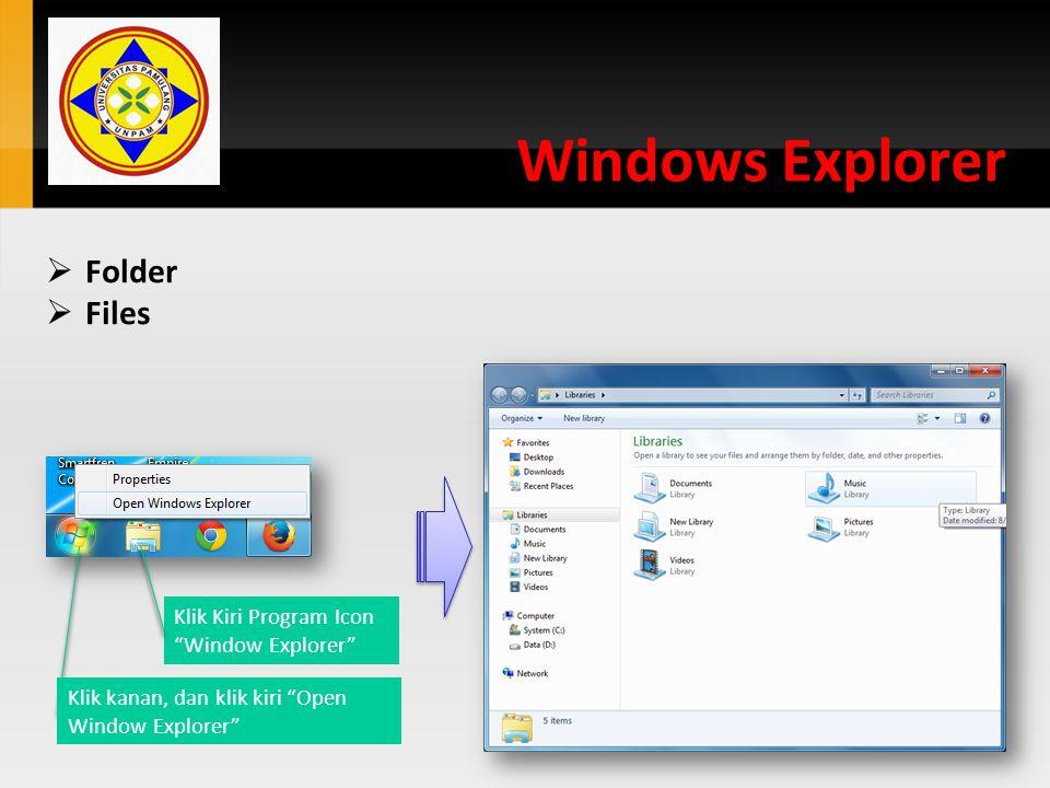 Menghapus File dan Folder Setiap file/folder yang terhapus masuk ke Recycle bin.