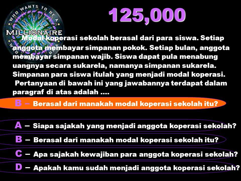 125,000 Modal koperasi sekolah berasal dari para siswa. Setiap anggota membayar simpanan pokok. Setiap bulan, anggota membayar simpanan wajib. Siswa d