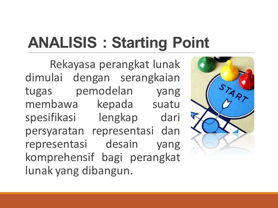 ANALISIS : Starting Point Rekayasa perangkat lunak dimulai dengan serangkaian tugas pemodelan yang membawa kepada suatu spesifikasi lengkap dari persyaratan representasi dan representasi desain yang komprehensif bagi perangkat lunak yang dibangun.