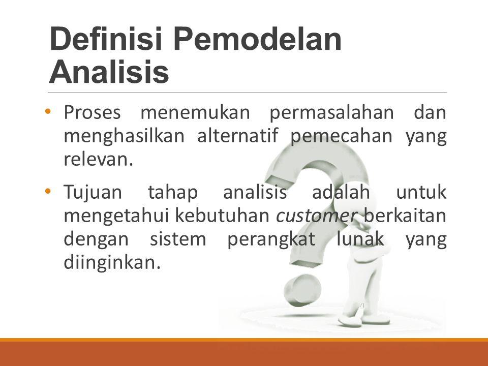 Definisi Pemodelan Analisis Proses menemukan permasalahan dan menghasilkan alternatif pemecahan yang relevan.