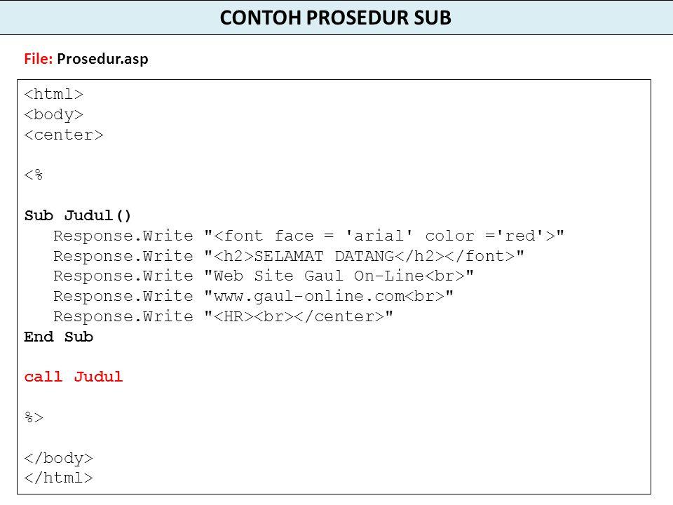 <% Sub Judul() Response.Write Response.Write SELAMAT DATANG Response.Write Web Site Gaul On-Line Response.Write www.gaul-online.com Response.Write End Sub call Judul %> CONTOH PROSEDUR SUB File: Prosedur.asp