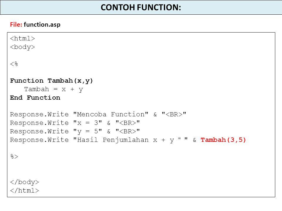 <% Function Tambah(x,y) Tambah = x + y End Function Response.Write Mencoba Function & Response.Write x = 3 & Response.Write y = 5 & Response.Write Hasil Penjumlahan x + y = & Tambah(3,5) %> CONTOH FUNCTION: File: function.asp
