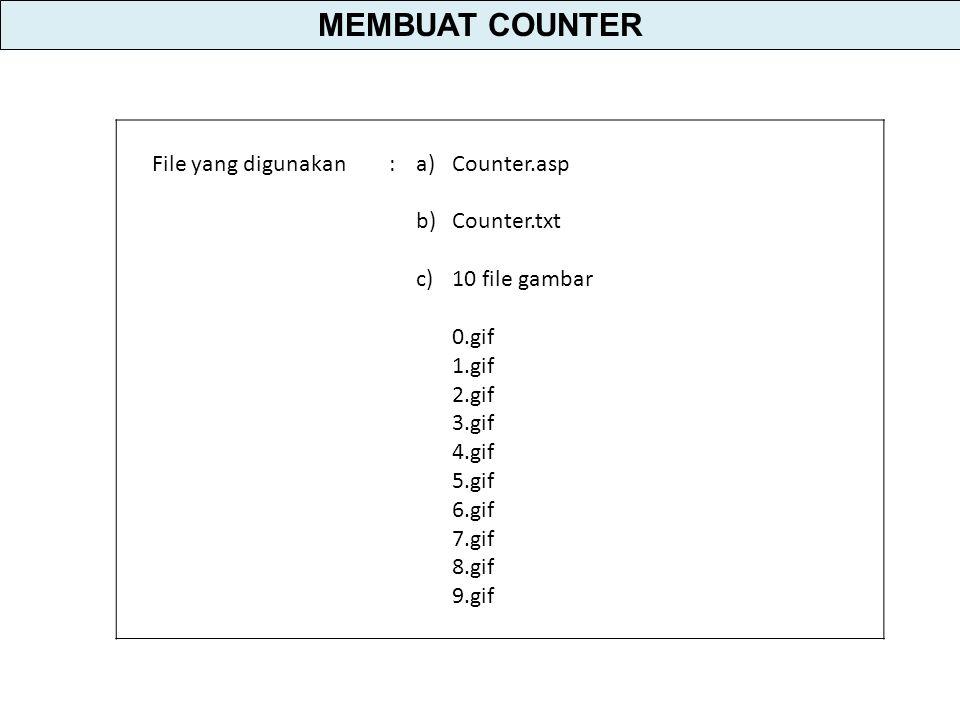 File yang digunakan:a)Counter.asp b)Counter.txt c)10 file gambar 0.gif 1.gif 2.gif 3.gif 4.gif 5.gif 6.gif 7.gif 8.gif 9.gif MEMBUAT COUNTER
