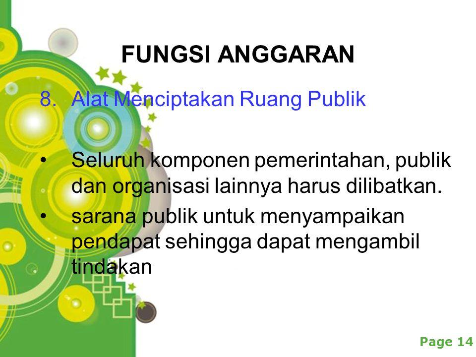Powerpoint Templates Page 14 FUNGSI ANGGARAN 8.Alat Menciptakan Ruang Publik Seluruh komponen pemerintahan, publik dan organisasi lainnya harus dilibatkan.