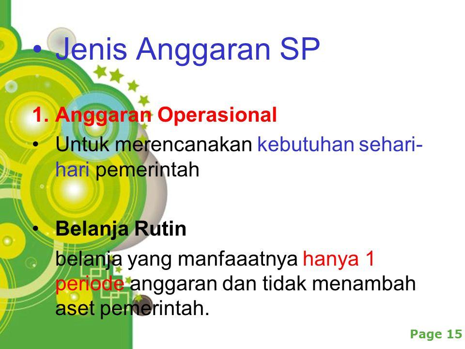 Powerpoint Templates Page 15 Jenis Anggaran SP 1.Anggaran Operasional Untuk merencanakan kebutuhan sehari- hari pemerintah Belanja Rutin belanja yang manfaaatnya hanya 1 periode anggaran dan tidak menambah aset pemerintah.