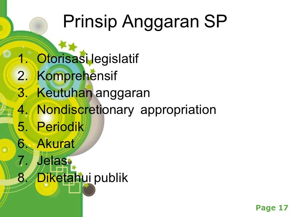 Powerpoint Templates Page 17 Prinsip Anggaran SP 1.Otorisasi legislatif 2.Komprehensif 3.Keutuhan anggaran 4.Nondiscretionary appropriation 5.Periodik 6.Akurat 7.Jelas 8.Diketahui publik