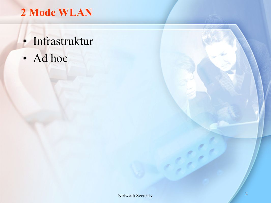 2 Mode WLAN Infrastruktur Ad hoc Network Security 2