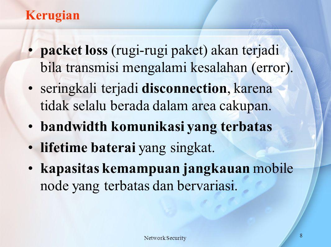 Kerugian packet loss (rugi-rugi paket) akan terjadi bila transmisi mengalami kesalahan (error). seringkali terjadi disconnection, karena tidak selalu