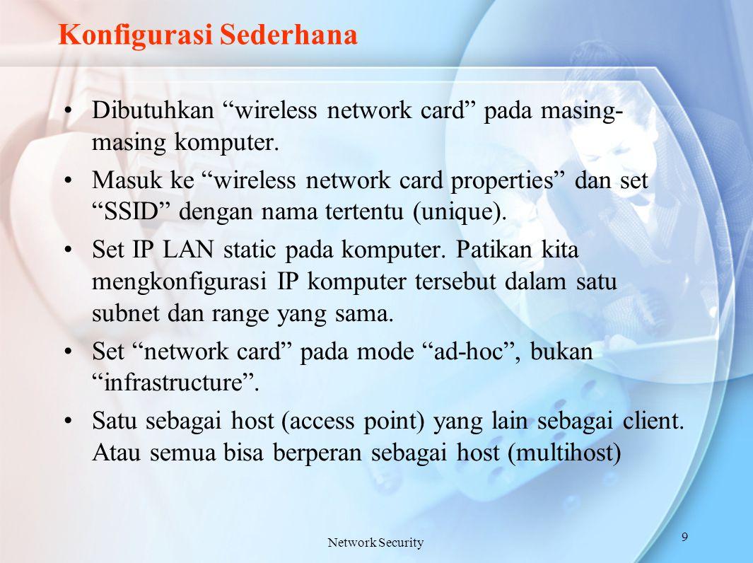"""Konfigurasi Sederhana Dibutuhkan """"wireless network card"""" pada masing- masing komputer. Masuk ke """"wireless network card properties"""" dan set """"SSID"""" deng"""