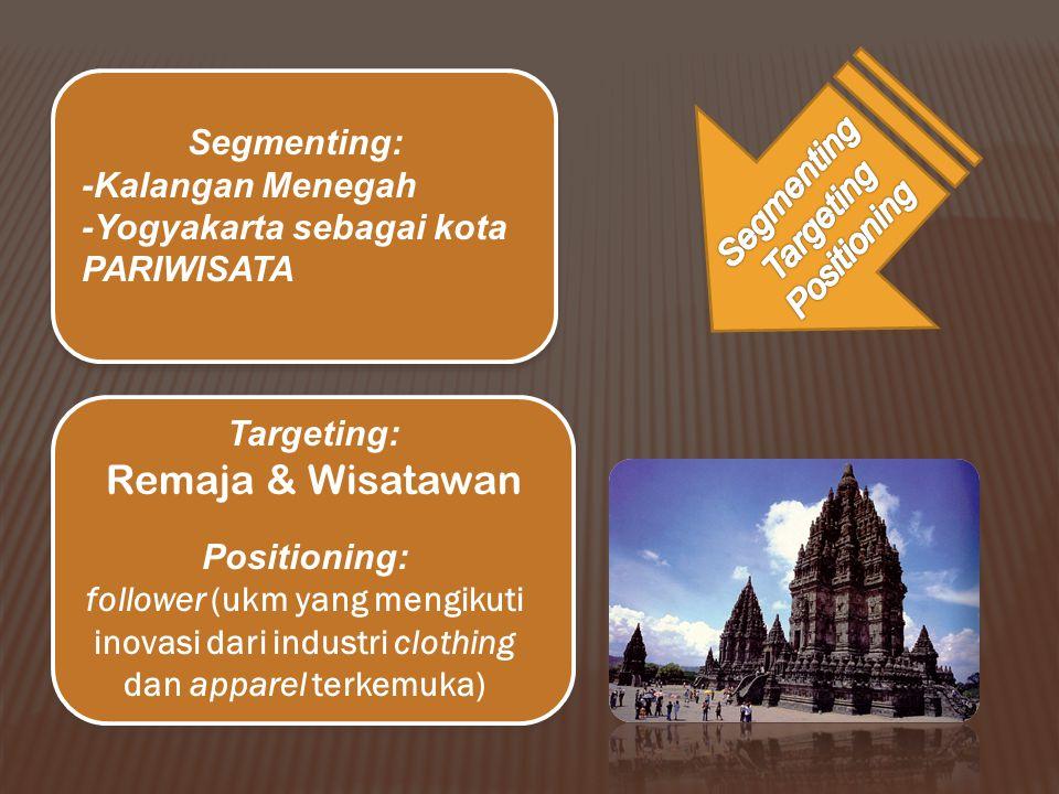 Segmenting: -Kalangan Menegah -Yogyakarta sebagai kota PARIWISATA Targeting: Remaja & Wisatawan Positioning: follower (ukm yang mengikuti inovasi dari industri clothing dan apparel terkemuka)