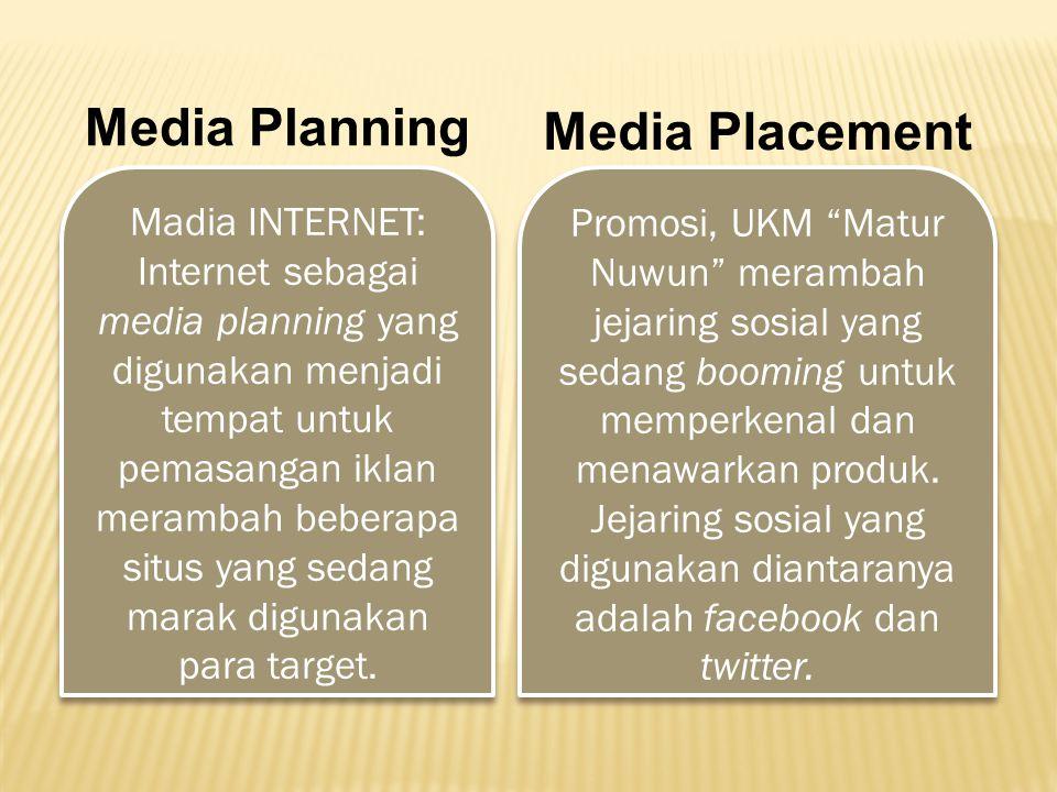 Media Planning Media Placement Madia INTERNET: Internet sebagai media planning yang digunakan menjadi tempat untuk pemasangan iklan merambah beberapa