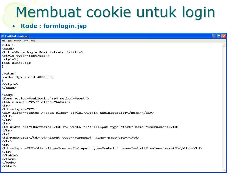 Kode : formlogin.jsp
