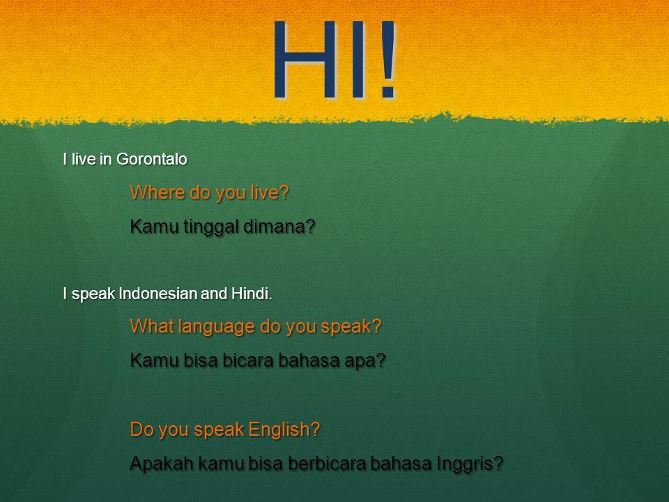 HI! I live in Gorontalo Where do you live? Kamu tinggal dimana? I speak Indonesian and Hindi. What language do you speak? Kamu bisa bicara bahasa apa?