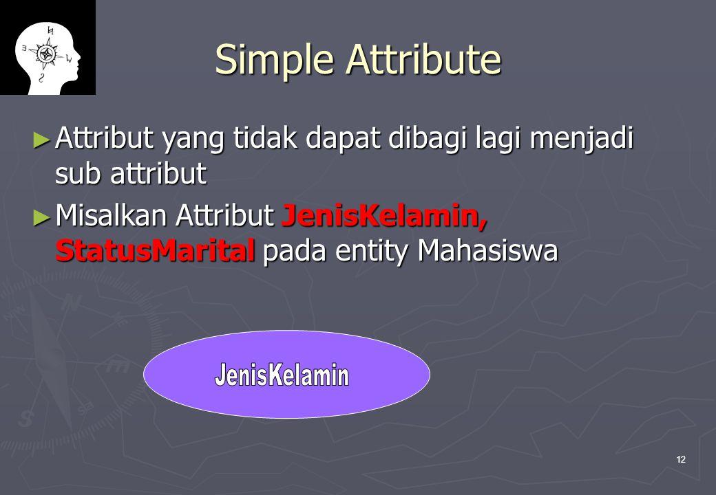 12 Simple Attribute ► Attribut yang tidak dapat dibagi lagi menjadi sub attribut ► Misalkan Attribut JenisKelamin, StatusMarital pada entity Mahasiswa