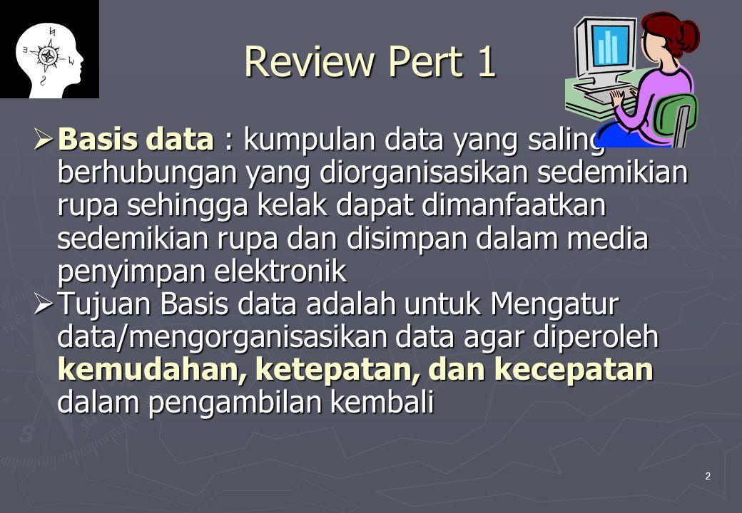 2 Review Pert 1  Basis data : kumpulan data yang saling berhubungan yang diorganisasikan sedemikian rupa sehingga kelak dapat dimanfaatkan sedemikian