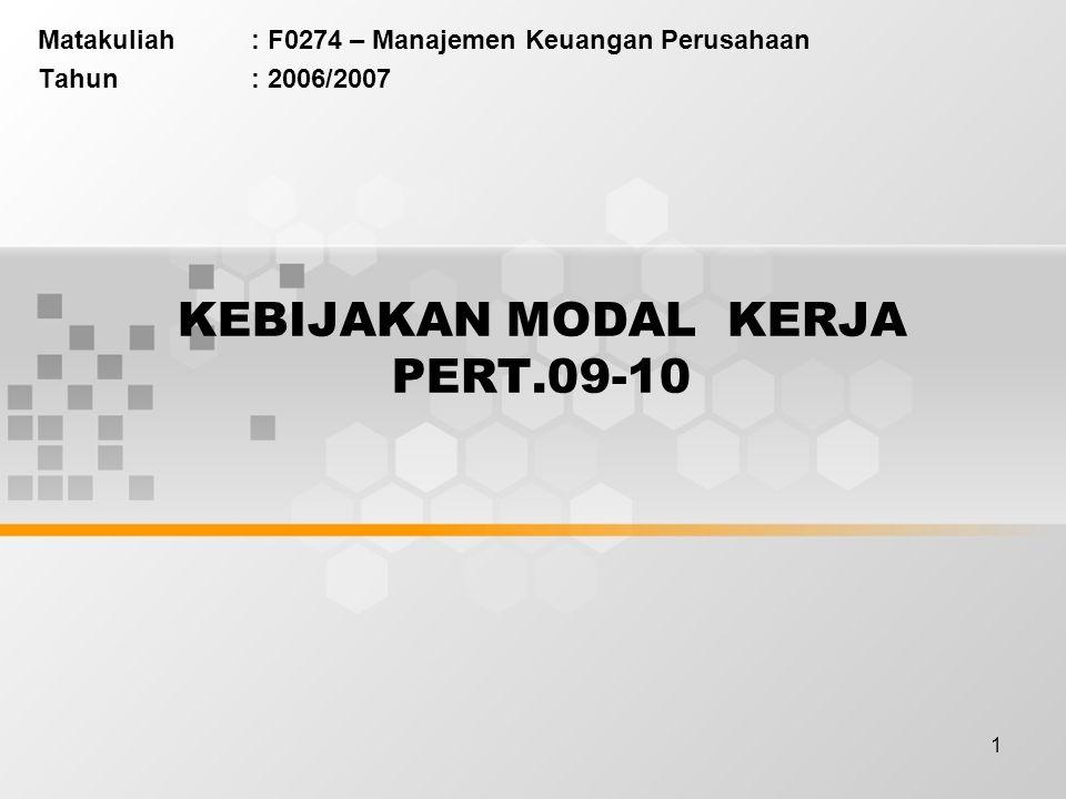 1 KEBIJAKAN MODAL KERJA PERT.09-10 Matakuliah: F0274 – Manajemen Keuangan Perusahaan Tahun: 2006/2007
