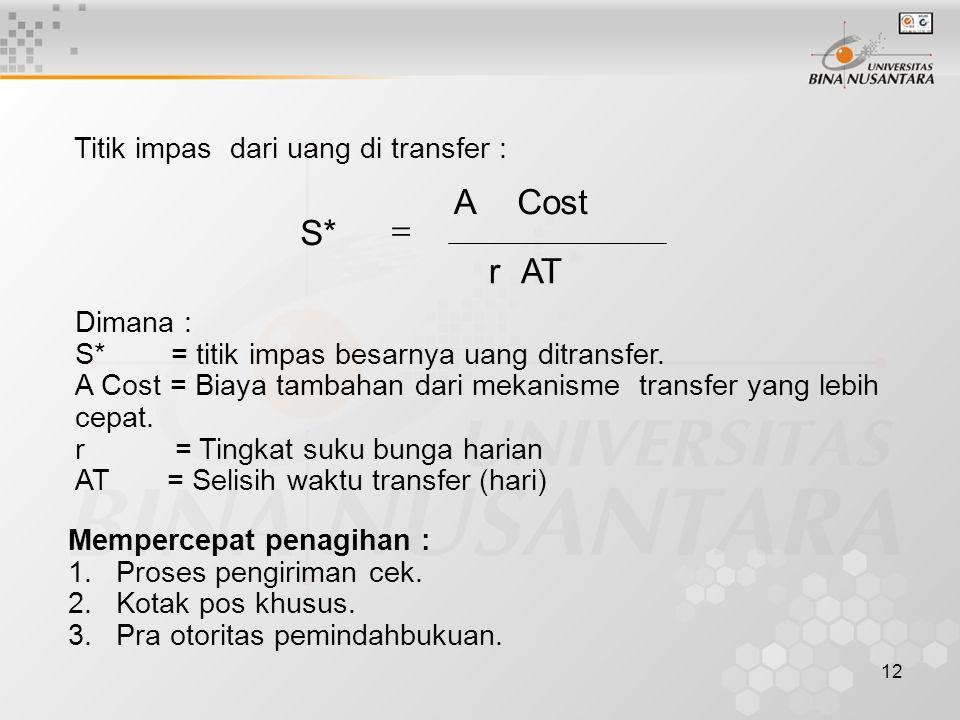 12 Titik impas dari uang di transfer : ATr CostA S*  Dimana : S* = titik impas besarnya uang ditransfer.