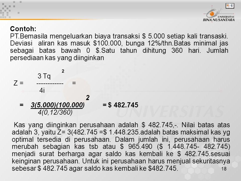 18 Contoh: PT.Bemasila mengeluarkan biaya transaksi $ 5.000 setiap kali transaski.