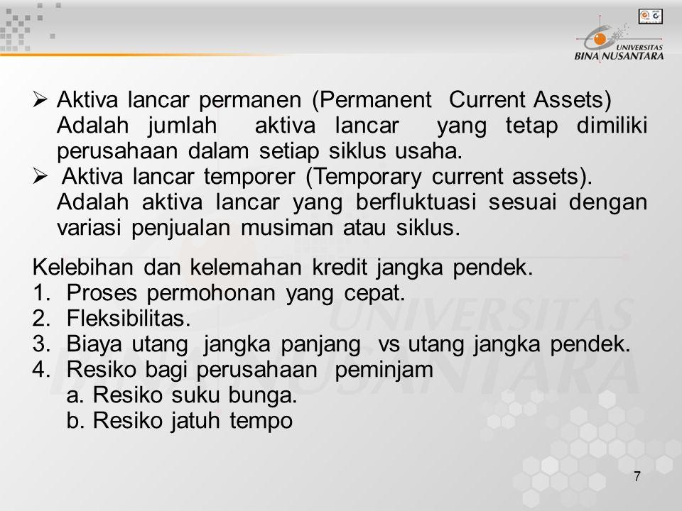 7  Aktiva lancar permanen (Permanent Current Assets) Adalah jumlah aktiva lancar yang tetap dimiliki perusahaan dalam setiap siklus usaha.