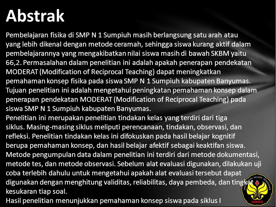 Kata Kunci Modification of Reciprocal Teaching, pemahaman konsep