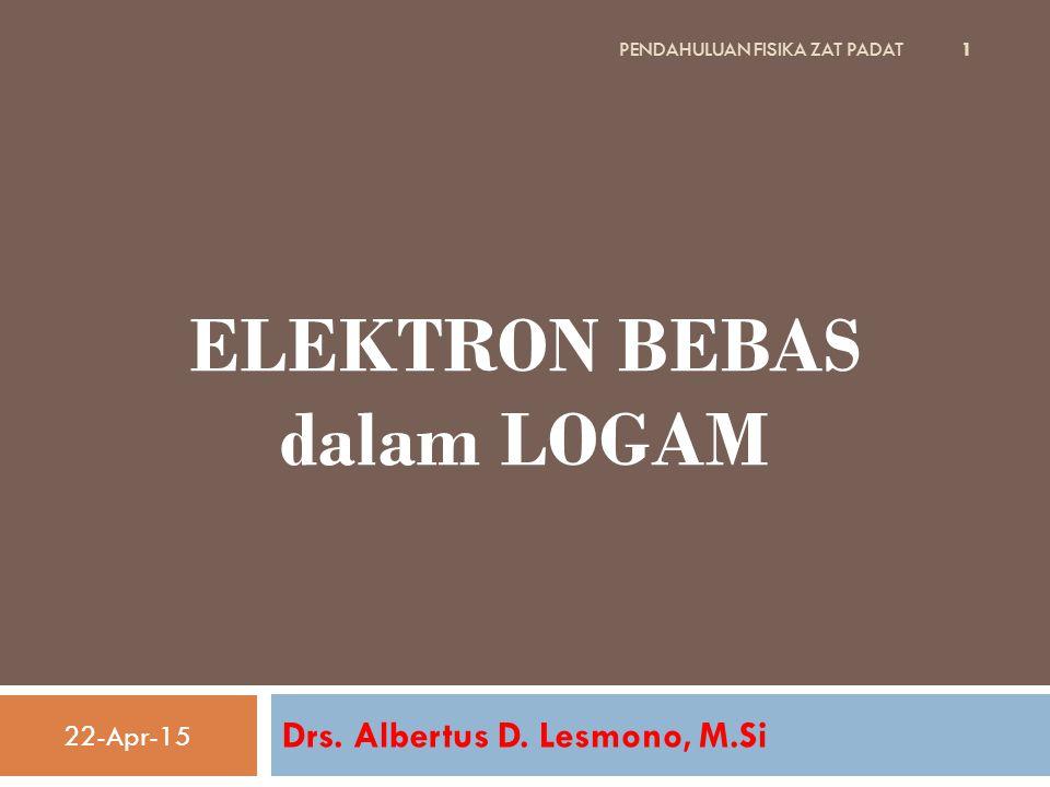 ELEKTRON BEBAS dalam LOGAM Drs. Albertus D. Lesmono, M.Si 22-Apr-15 1 PENDAHULUAN FISIKA ZAT PADAT
