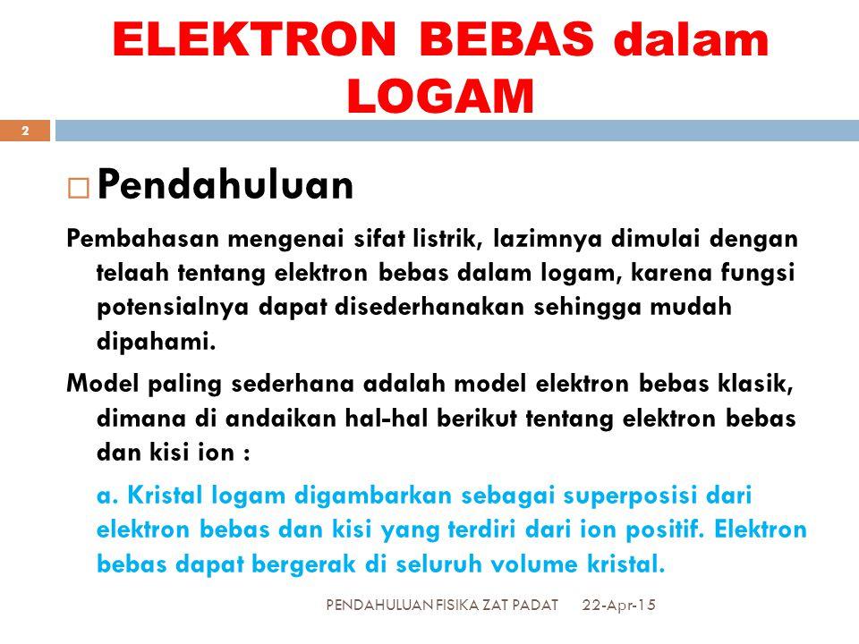 b.Kumpulan elektron bebas itu dianggap sebagai suatu gas elektron.