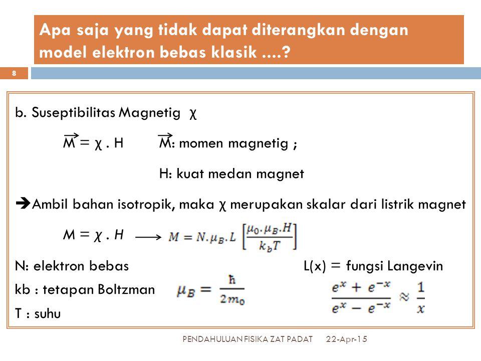 Apabila  B H <<< k B T, maka sehingga M = χ.