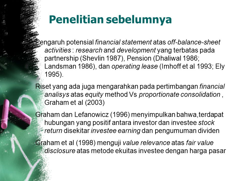 Penelitian sebelumnya Pengaruh potensial financial statement atas off-balance-sheet activities : research and development yang terbatas pada partnersh