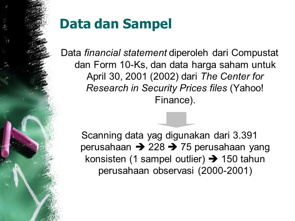 Data dan Sampel Data financial statement diperoleh dari Compustat dan Form 10-Ks, dan data harga saham untuk April 30, 2001 (2002) dari The Center for