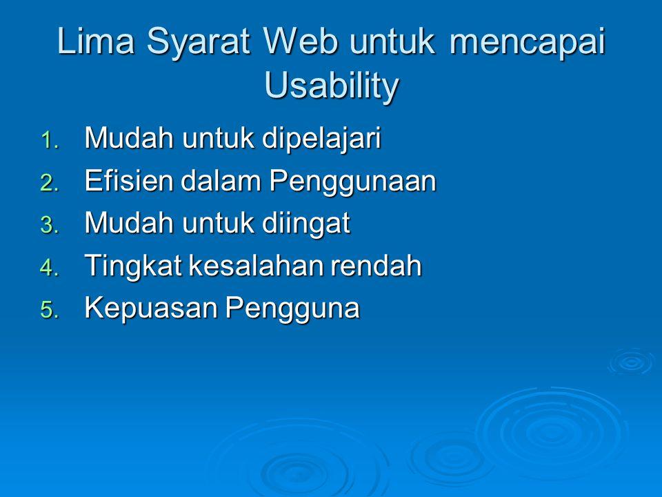 Lima Syarat Web untuk mencapai Usability 1. Mudah untuk dipelajari 2. Efisien dalam Penggunaan 3. Mudah untuk diingat 4. Tingkat kesalahan rendah 5. K