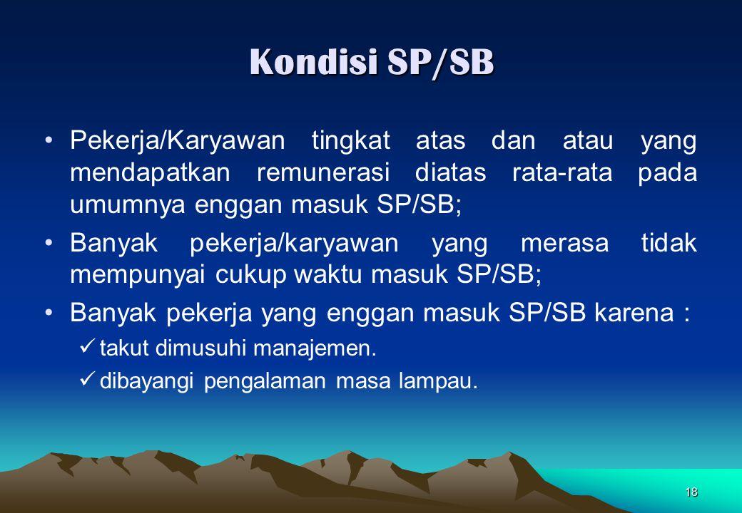 18 Kondisi SP/SB Pekerja/Karyawan tingkat atas dan atau yang mendapatkan remunerasi diatas rata-rata pada umumnya enggan masuk SP/SB; Banyak pekerja/k