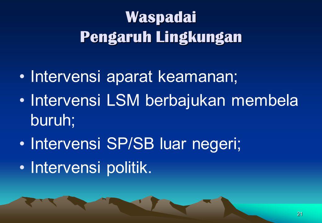 21 Waspadai Pengaruh Lingkungan Intervensi aparat keamanan; Intervensi LSM berbajukan membela buruh; Intervensi SP/SB luar negeri; Intervensi politik.