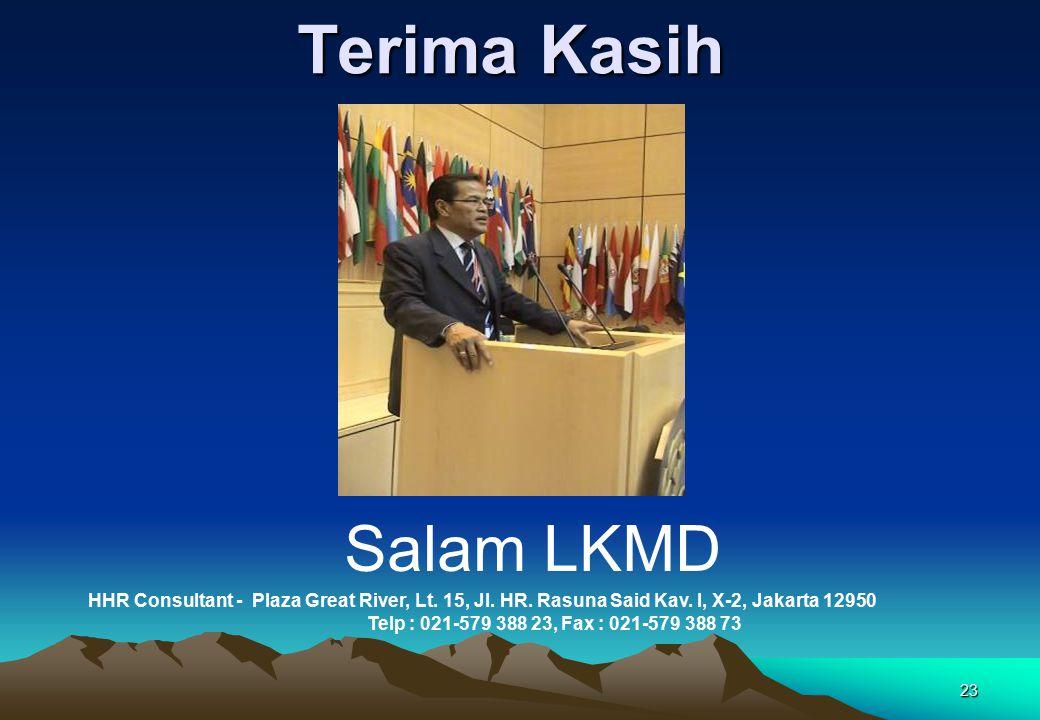 23 Terima Kasih Salam LKMD HHR Consultant - Plaza Great River, Lt. 15, Jl. HR. Rasuna Said Kav. I, X-2, Jakarta 12950 Telp : 021-579 388 23, Fax : 021