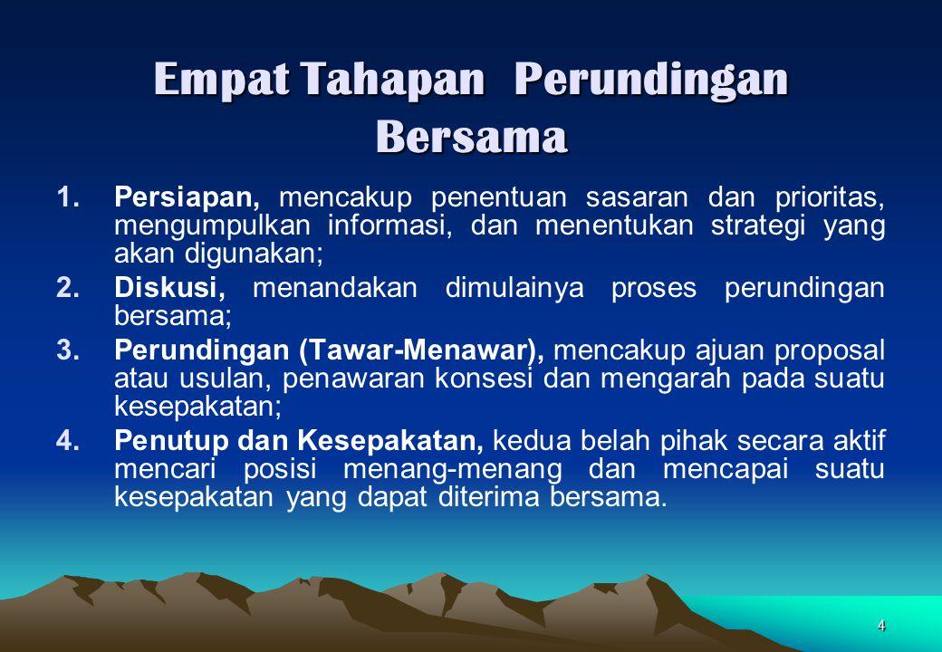 4 Empat Tahapan Perundingan Bersama 1.Persiapan, mencakup penentuan sasaran dan prioritas, mengumpulkan informasi, dan menentukan strategi yang akan d