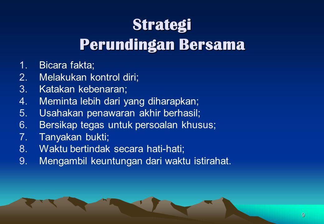 10 Kiat-Kiat Untuk Melancarkan Perundingan Delapan strategi menarik perhatian komunikan : 1.Merumuskan sasaran komunikasi dan antisipasi prospek; 2.Mengenali komunikan; 3.Mengenali diri sebagai komunikator; 4.Menempatkan komunikasi dalam konteks pembicaraan; 5.Menumbuhkan keyakinan komunikan; 6.Menyenangkan komunikan; 7.Memilih tempat dan waktu yang tepat; 8.Mengantisipasi komunikan.