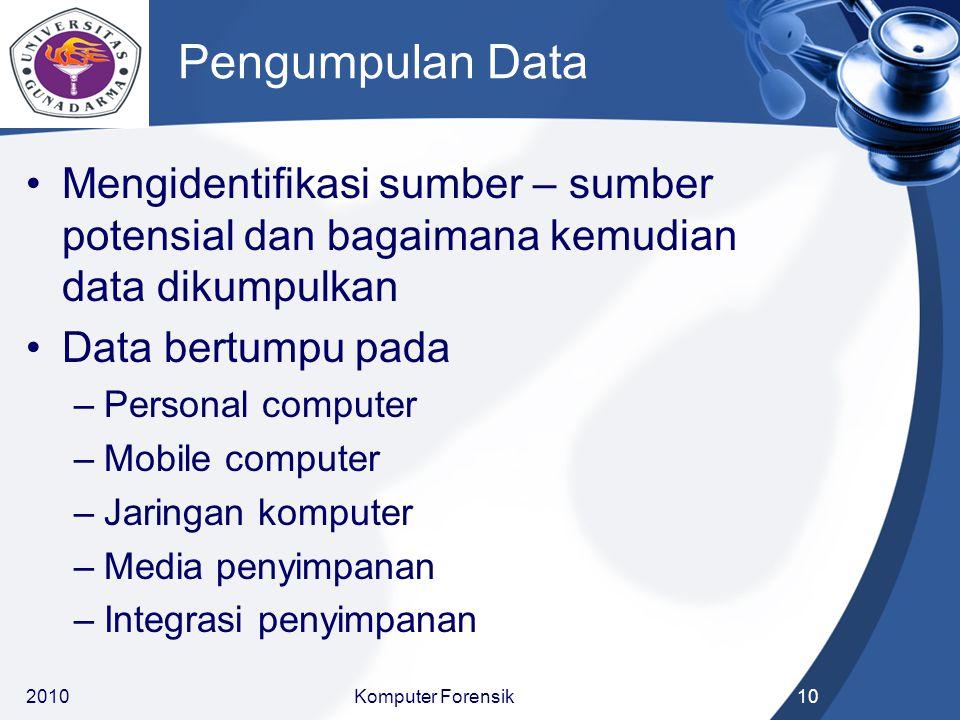 Pengumpulan Data Mengidentifikasi sumber – sumber potensial dan bagaimana kemudian data dikumpulkan Data bertumpu pada –Personal computer –Mobile comp