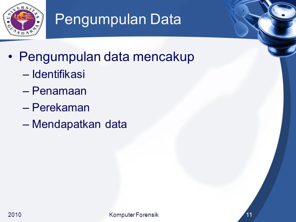 Pengumpulan Data Pengumpulan data mencakup –Identifikasi –Penamaan –Perekaman –Mendapatkan data 201011Komputer Forensik