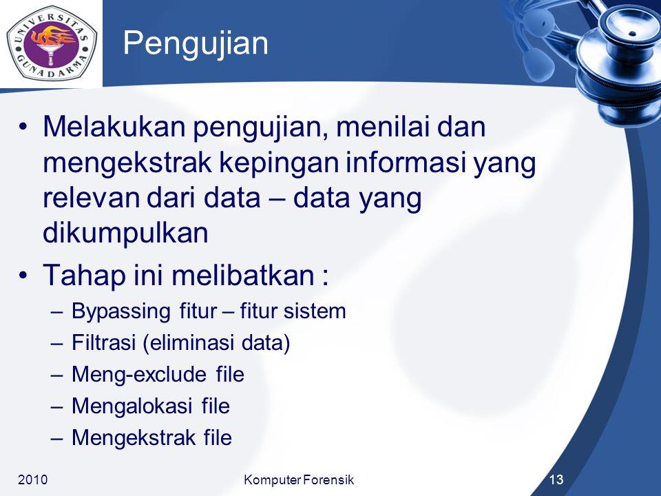 Pengujian Melakukan pengujian, menilai dan mengekstrak kepingan informasi yang relevan dari data – data yang dikumpulkan Tahap ini melibatkan : –Bypas