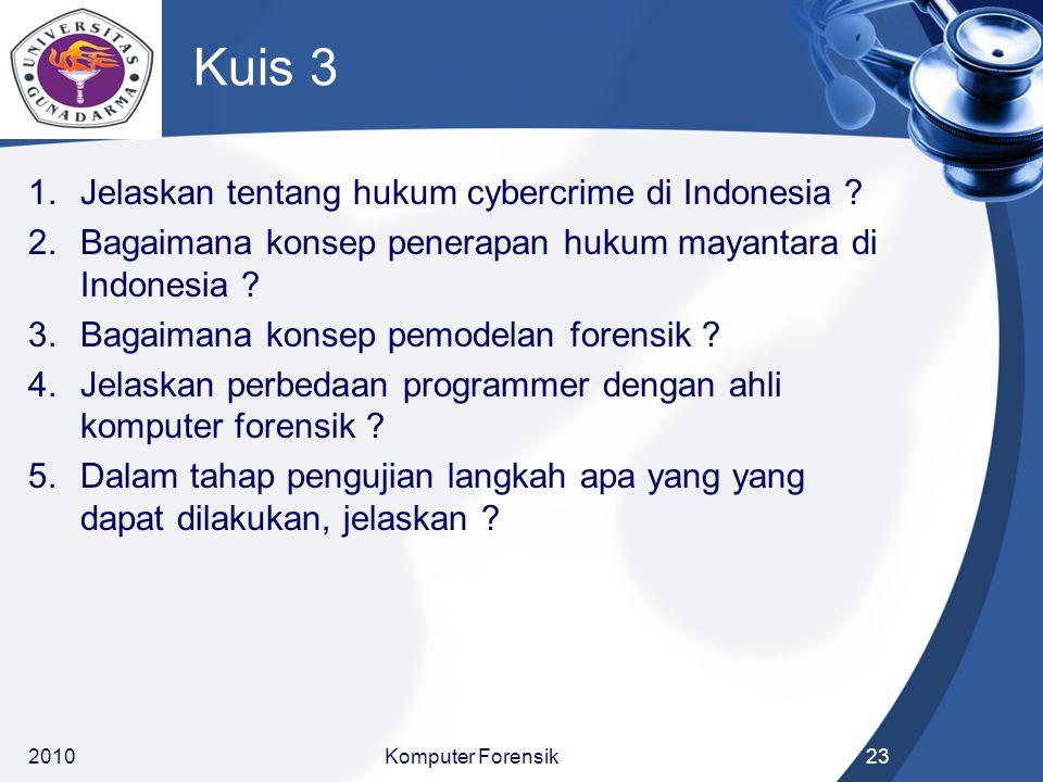 Kuis 3 1.Jelaskan tentang hukum cybercrime di Indonesia ? 2.Bagaimana konsep penerapan hukum mayantara di Indonesia ? 3.Bagaimana konsep pemodelan for