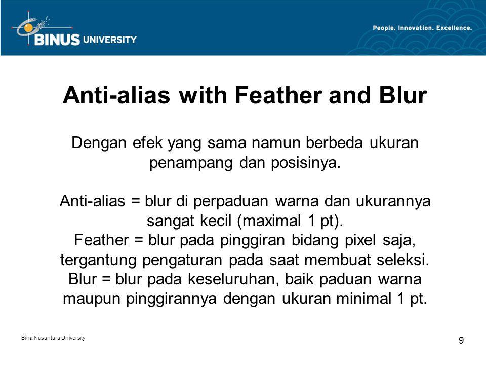 Bina Nusantara University 9 Anti-alias with Feather and Blur Dengan efek yang sama namun berbeda ukuran penampang dan posisinya.