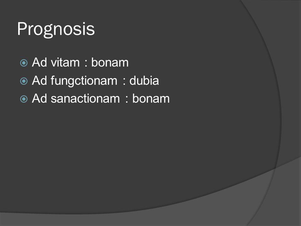 Prognosis  Ad vitam : bonam  Ad fungctionam : dubia  Ad sanactionam : bonam