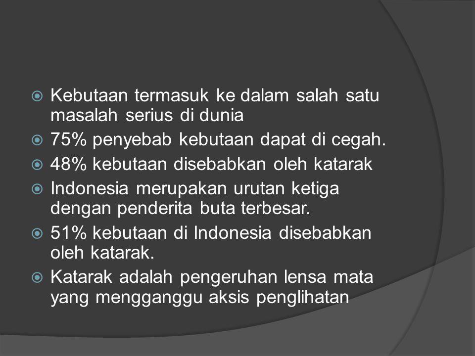  Kebutaan termasuk ke dalam salah satu masalah serius di dunia  75% penyebab kebutaan dapat di cegah.  48% kebutaan disebabkan oleh katarak  Indon