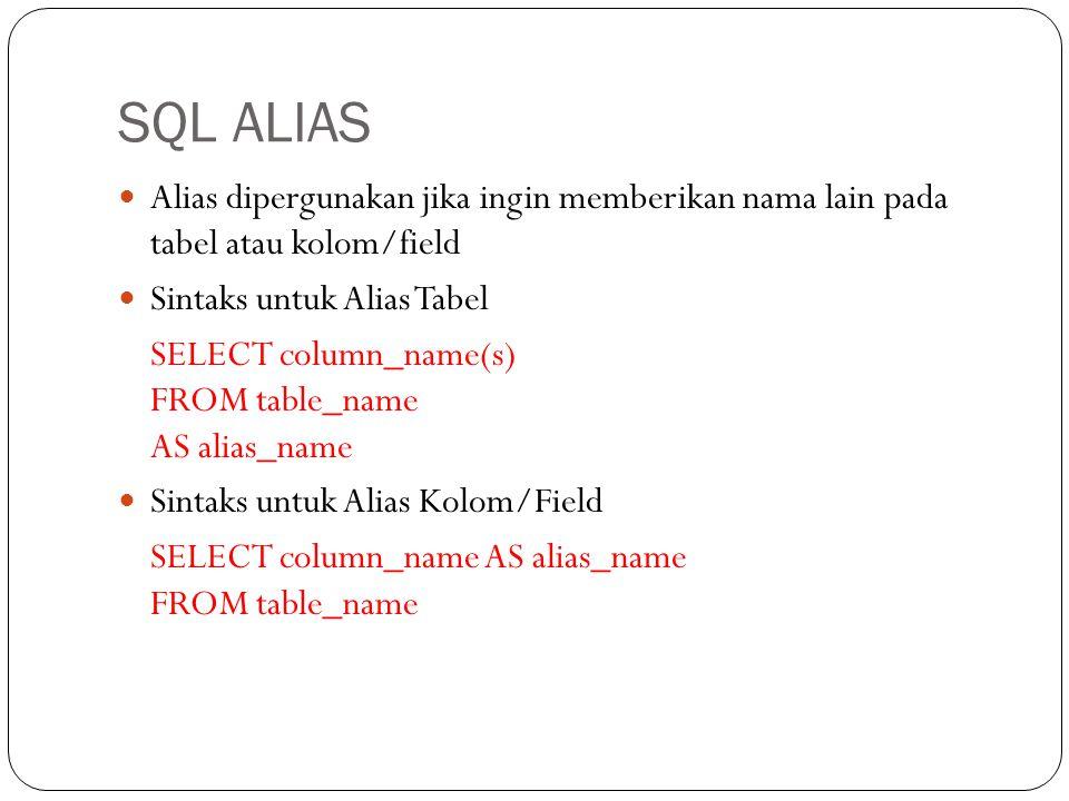 SQL ALIAS Alias dipergunakan jika ingin memberikan nama lain pada tabel atau kolom/field Sintaks untuk Alias Tabel SELECT column_name(s) FROM table_na