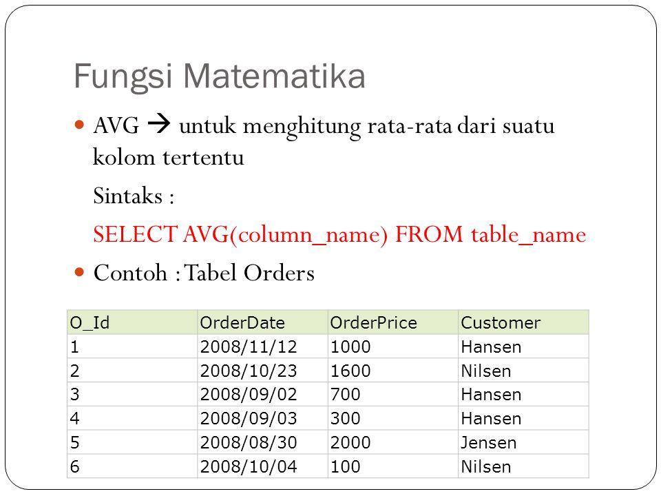 Fungsi Matematika AVG  untuk menghitung rata-rata dari suatu kolom tertentu Sintaks : SELECT AVG(column_name) FROM table_name Contoh : Tabel Orders O