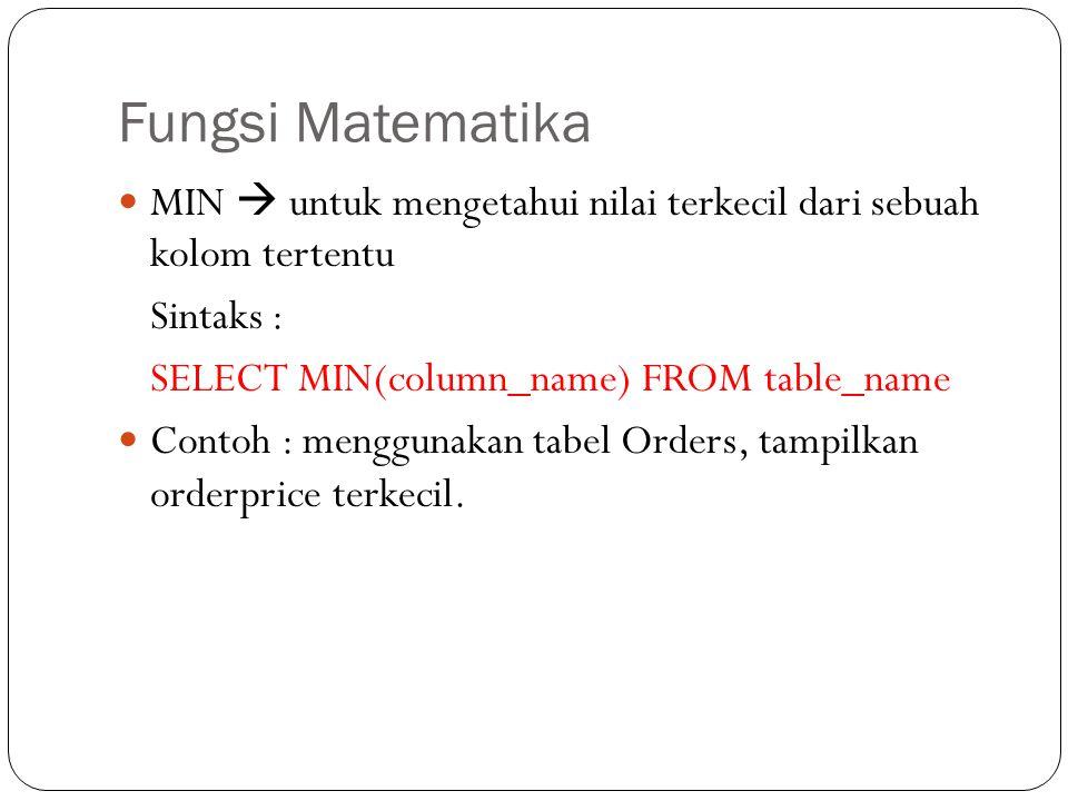 Fungsi Matematika MIN  untuk mengetahui nilai terkecil dari sebuah kolom tertentu Sintaks : SELECT MIN(column_name) FROM table_name Contoh : mengguna