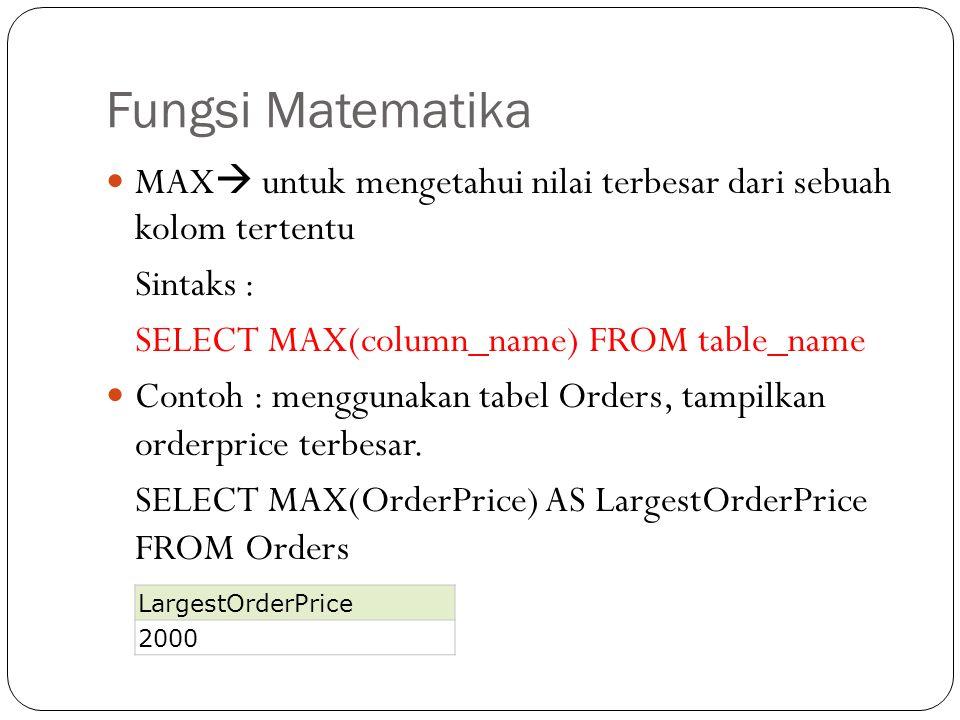 Fungsi Matematika MAX  untuk mengetahui nilai terbesar dari sebuah kolom tertentu Sintaks : SELECT MAX(column_name) FROM table_name Contoh : mengguna