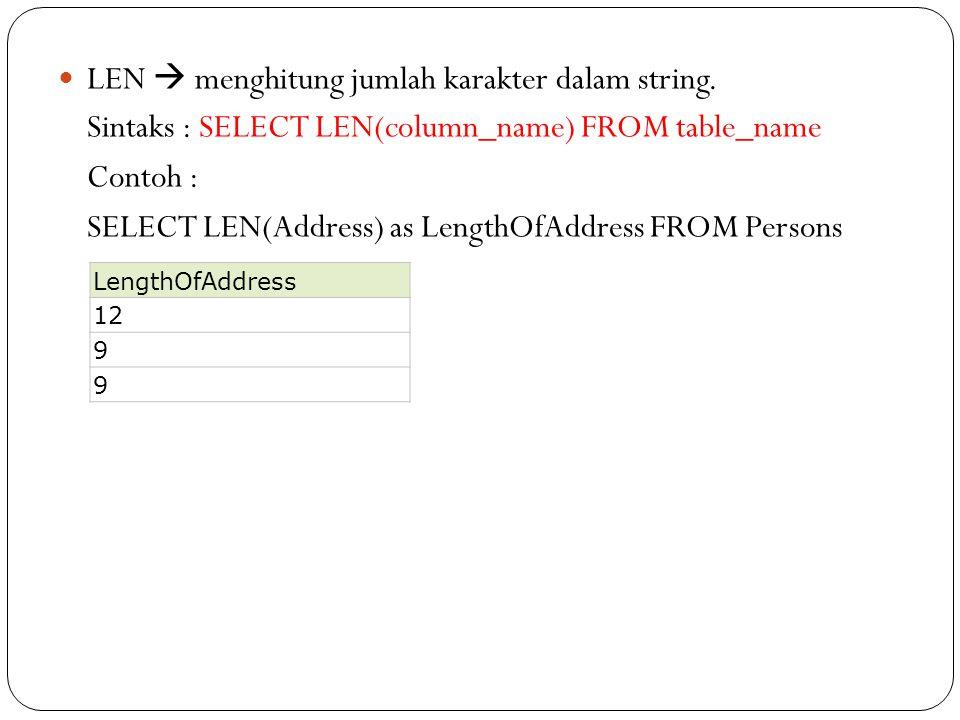 LEN  menghitung jumlah karakter dalam string. Sintaks : SELECT LEN(column_name) FROM table_name Contoh : SELECT LEN(Address) as LengthOfAddress FROM