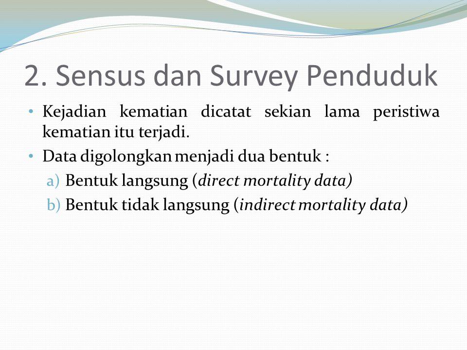 2. Sensus dan Survey Penduduk Kejadian kematian dicatat sekian lama peristiwa kematian itu terjadi. Data digolongkan menjadi dua bentuk : a) Bentuk la
