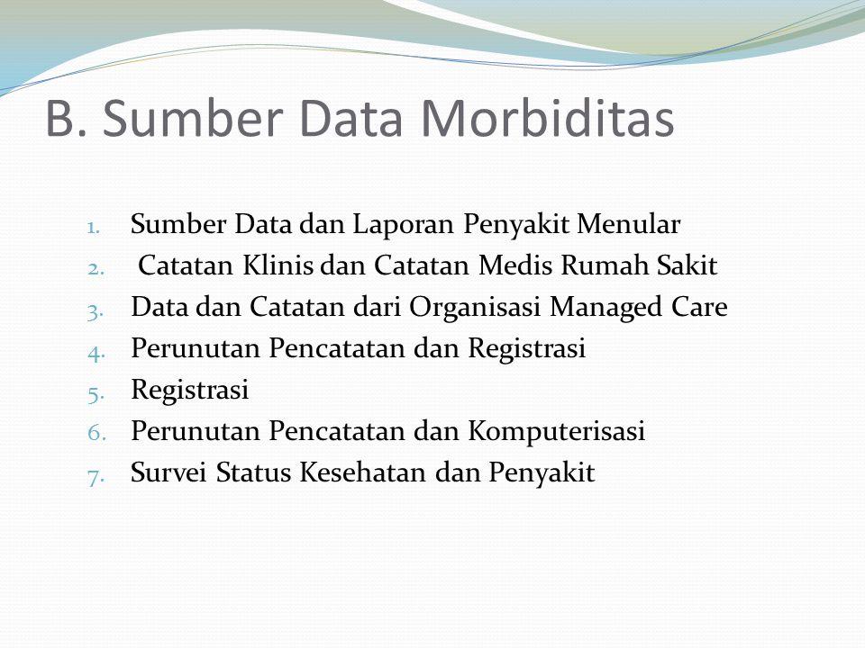 B. Sumber Data Morbiditas 1. Sumber Data dan Laporan Penyakit Menular 2. Catatan Klinis dan Catatan Medis Rumah Sakit 3. Data dan Catatan dari Organis
